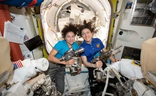 President trump talks to NASA astronauts Jessica Meir and Christina Koch and congratulate them