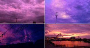 Why did the skies of Japan turn purple before Typhoon Hagibis?